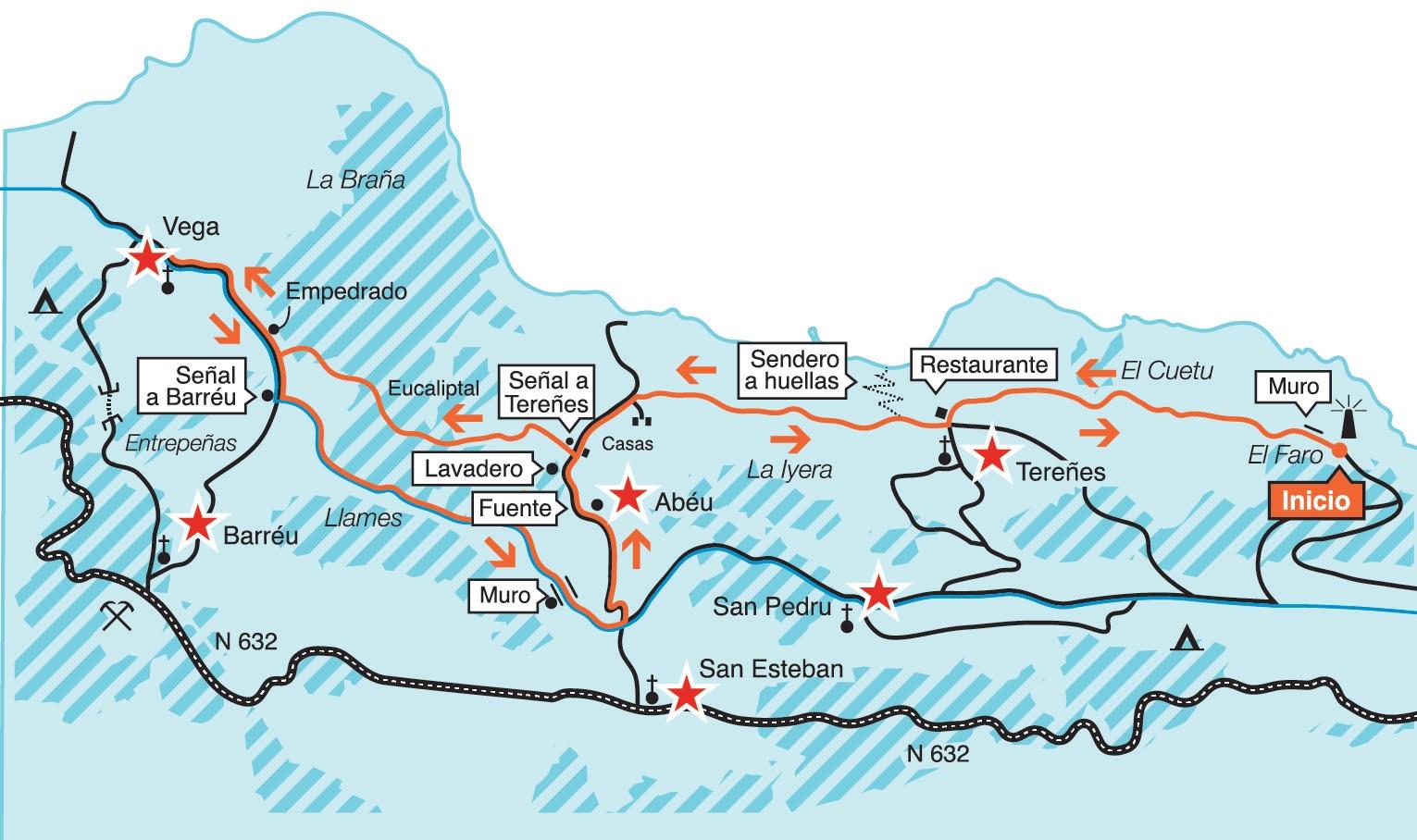Mapa ruta del Faro a Vega