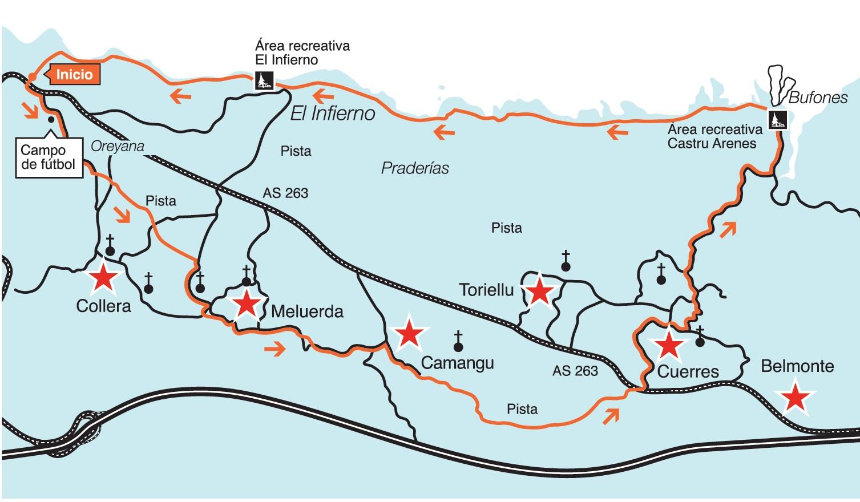 Mapa ruta Oreyana Guadamía